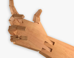 rigged 3d model wooden hand