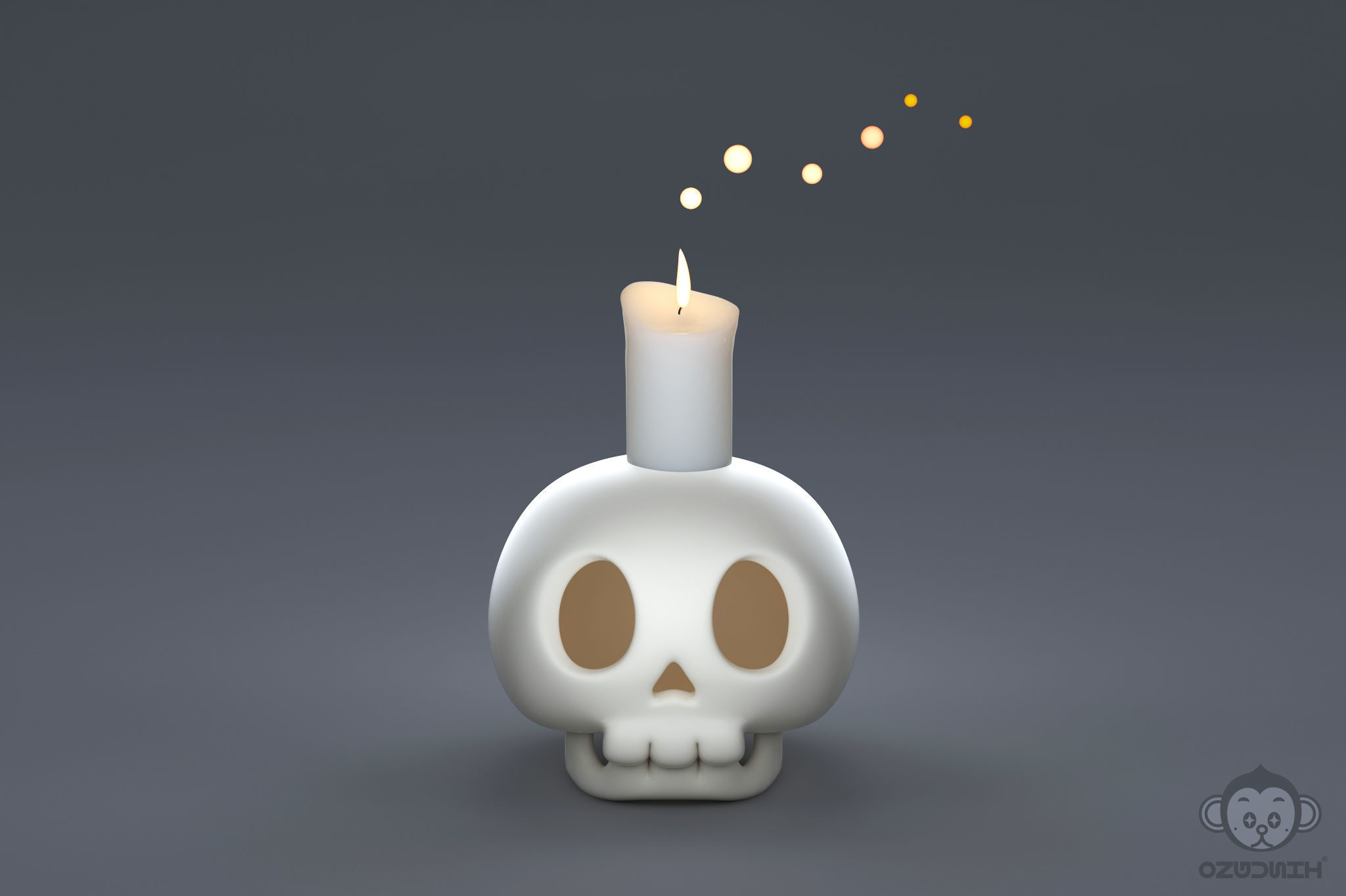 Human skull with candle light