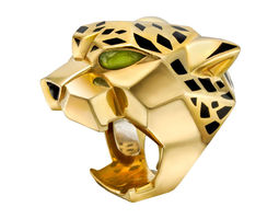 Panthere Lacquer Onyx Peridot Gold Ring 3D Model