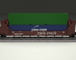 Brown Train Well Car w Containers 3D