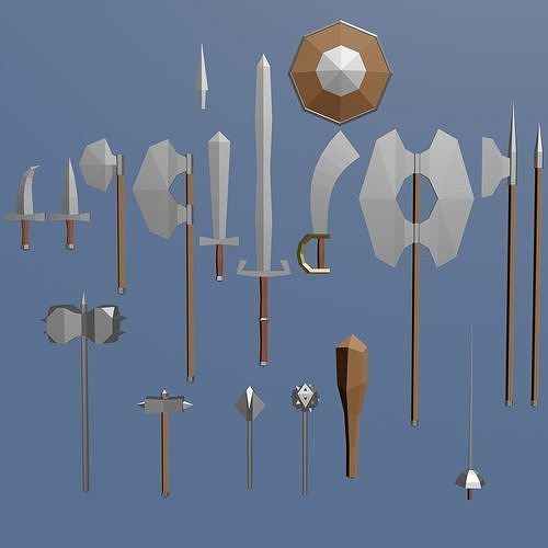 Cartoonish medieval melee weapons bundle