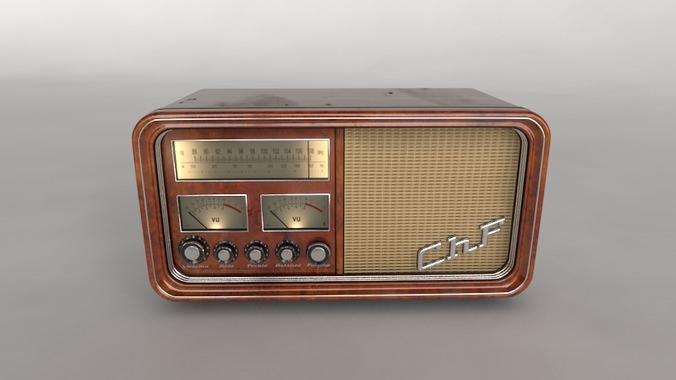 old time radio 3d model max. Black Bedroom Furniture Sets. Home Design Ideas