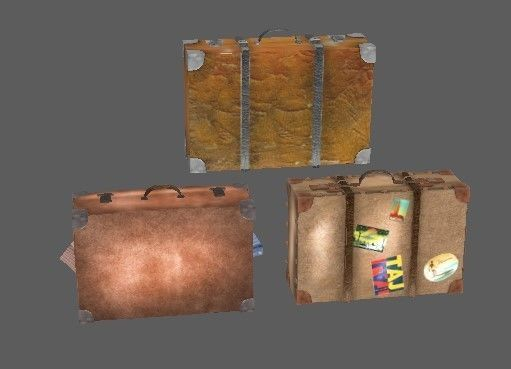 Three suitcases leather lowpoly retro