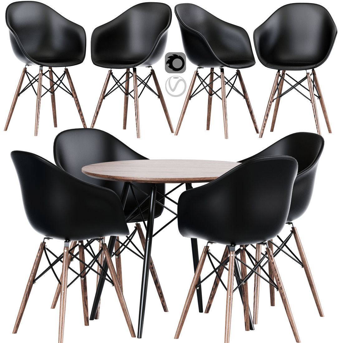 Modern Cross Leg Dining Table Chair