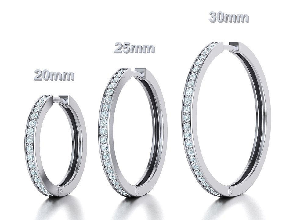 Hoop Earrings 3dmodels 20mm 25mm 30mm Collection with discount