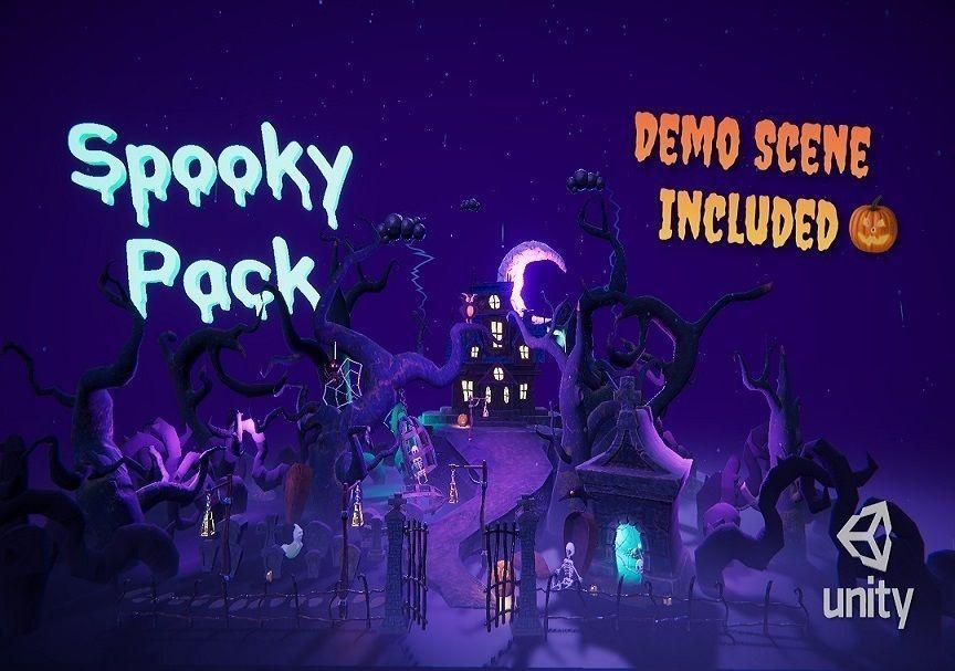 Cartoon spooky low poly 3D models