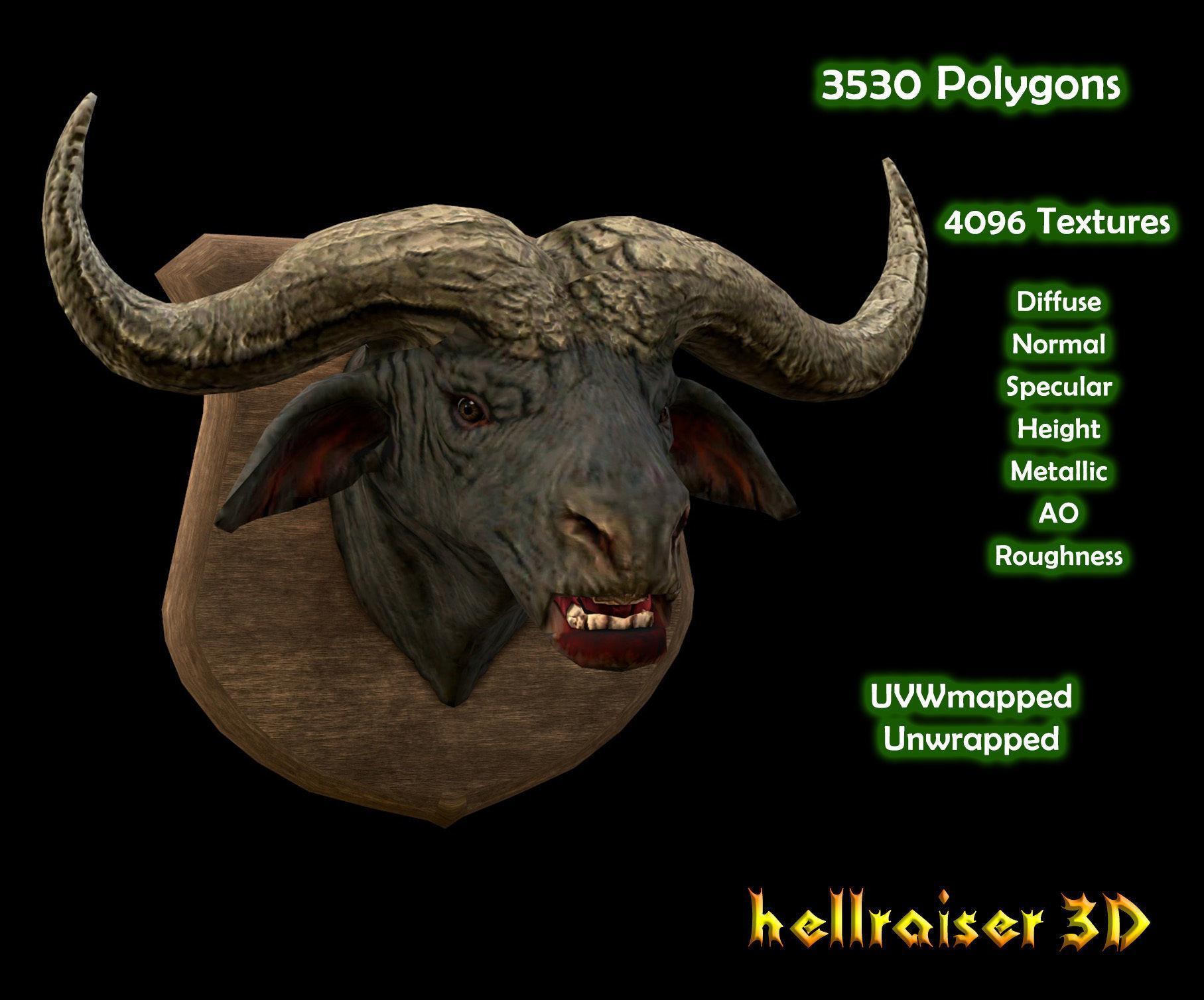 Buffalo Head - PBR - Textured