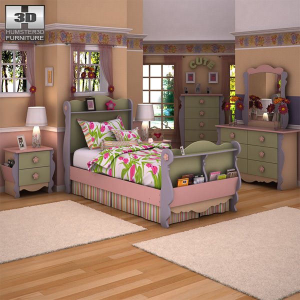 Kids Bedroom 3d Model 3d asset ashley doll house sleigh bedroom set | cgtrader