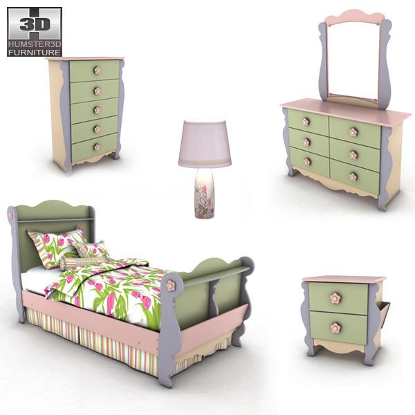 3D asset Ashley Doll House Sleigh Bedroom Set | CGTrader