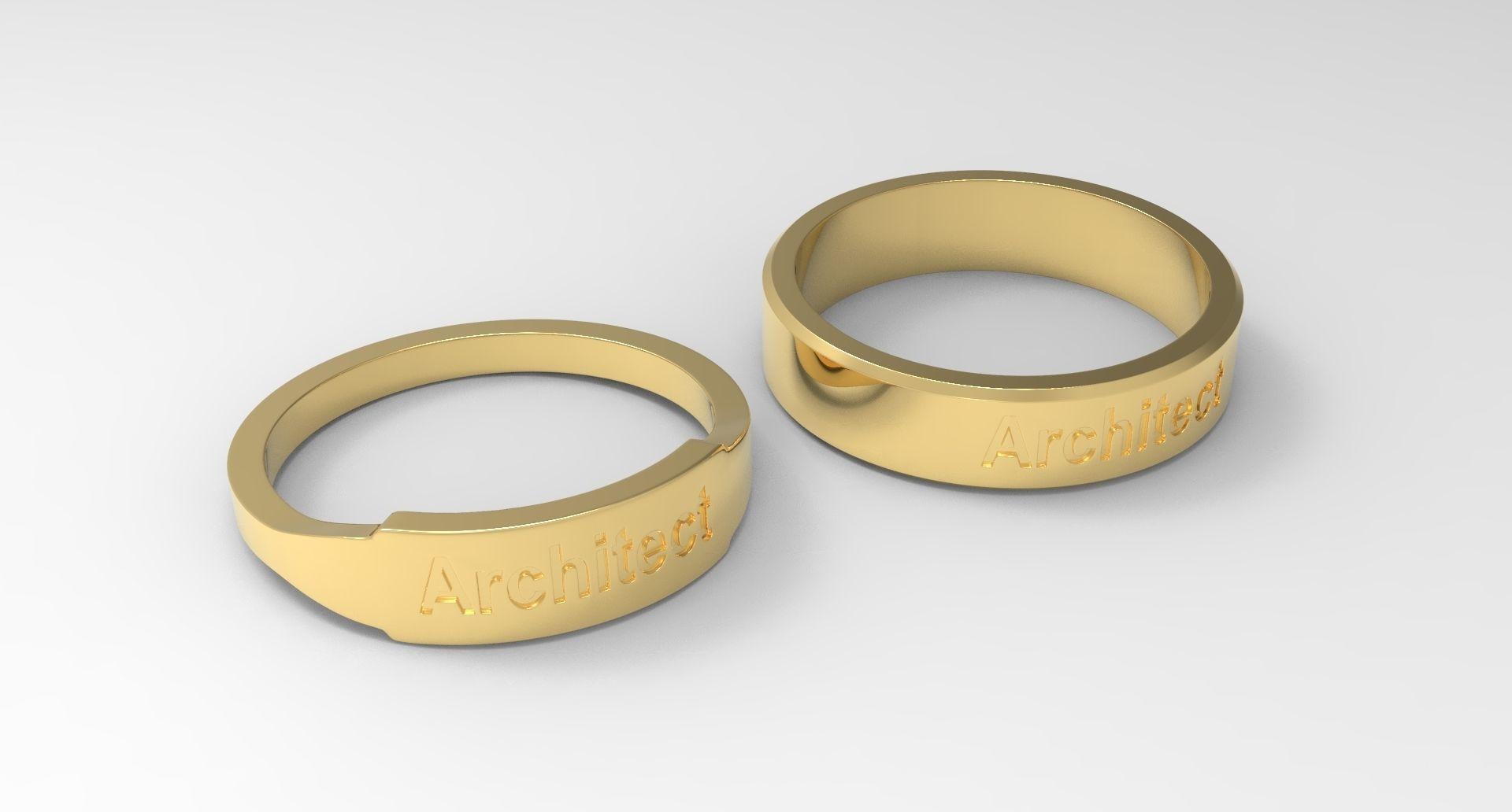 Architect Couple Ring Gold