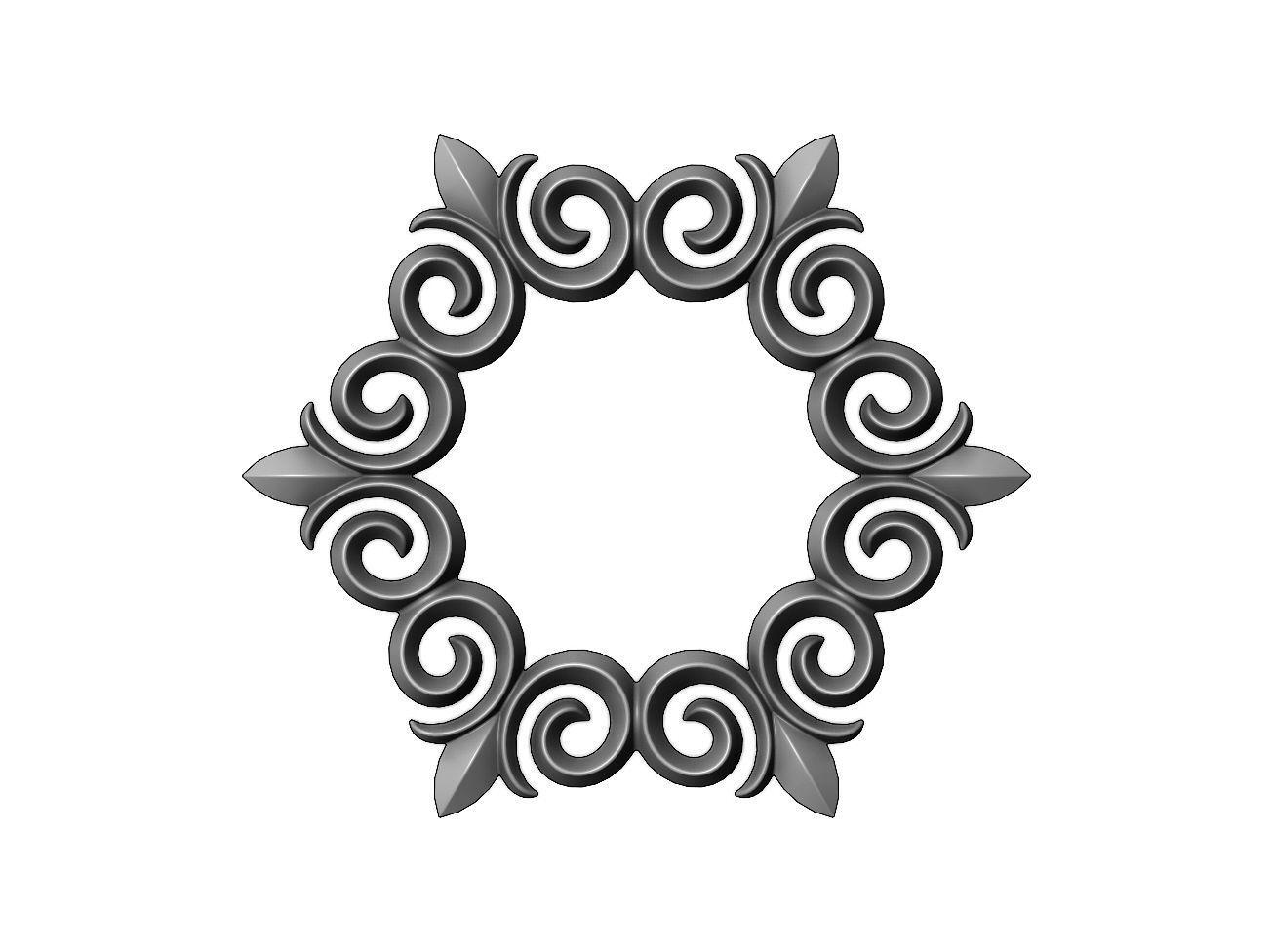 Hexagonal  floral decoration element relief