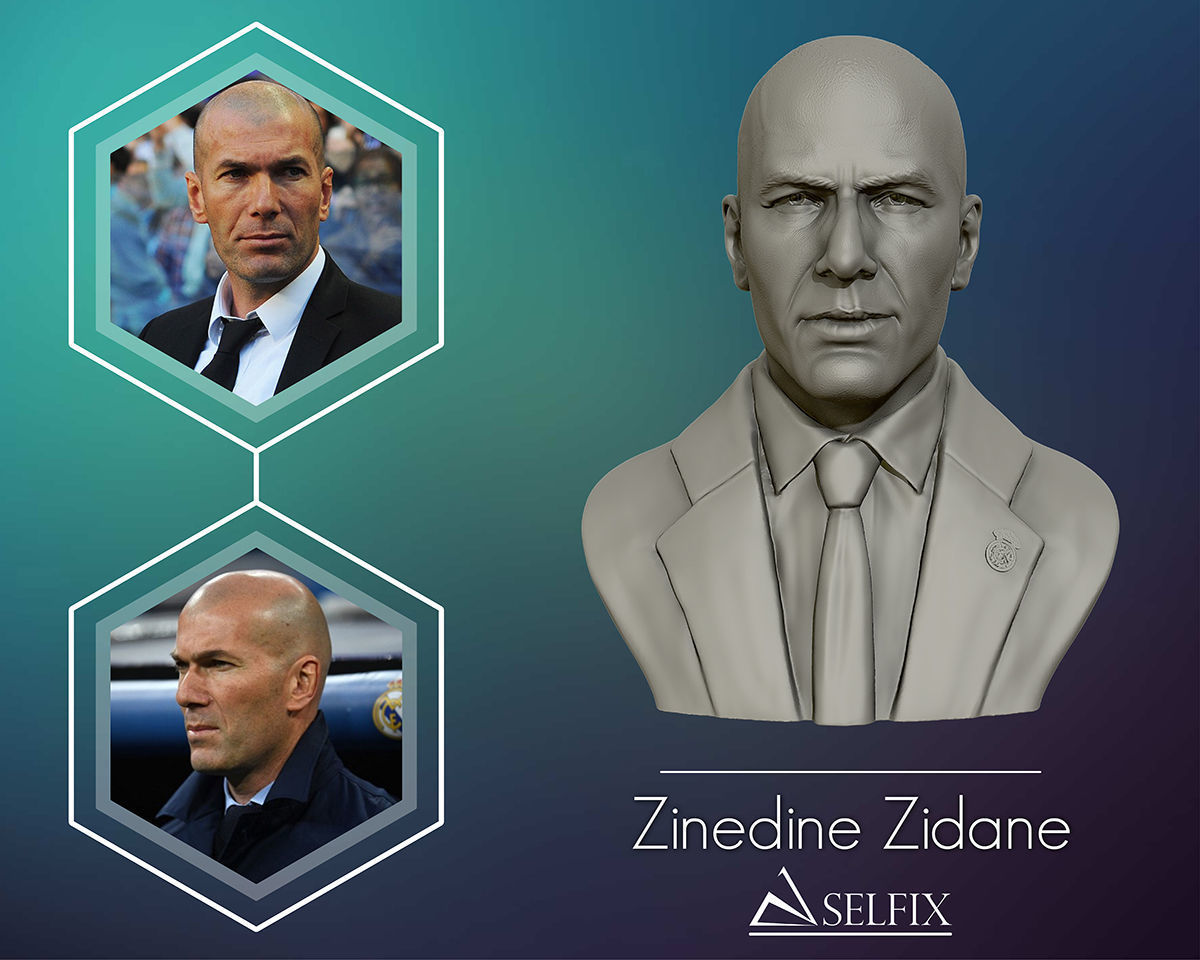 Zinedine Zidane 3D model sculpture
