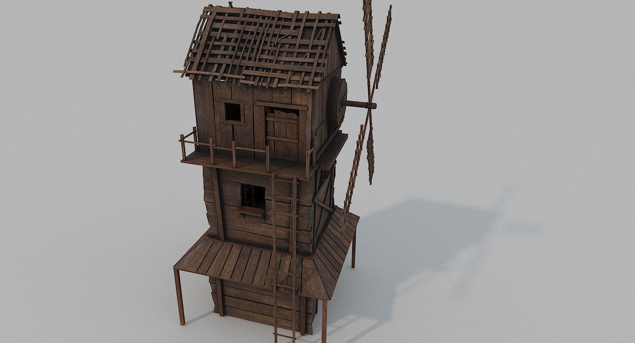 Medieval Wooden Windmill PBR