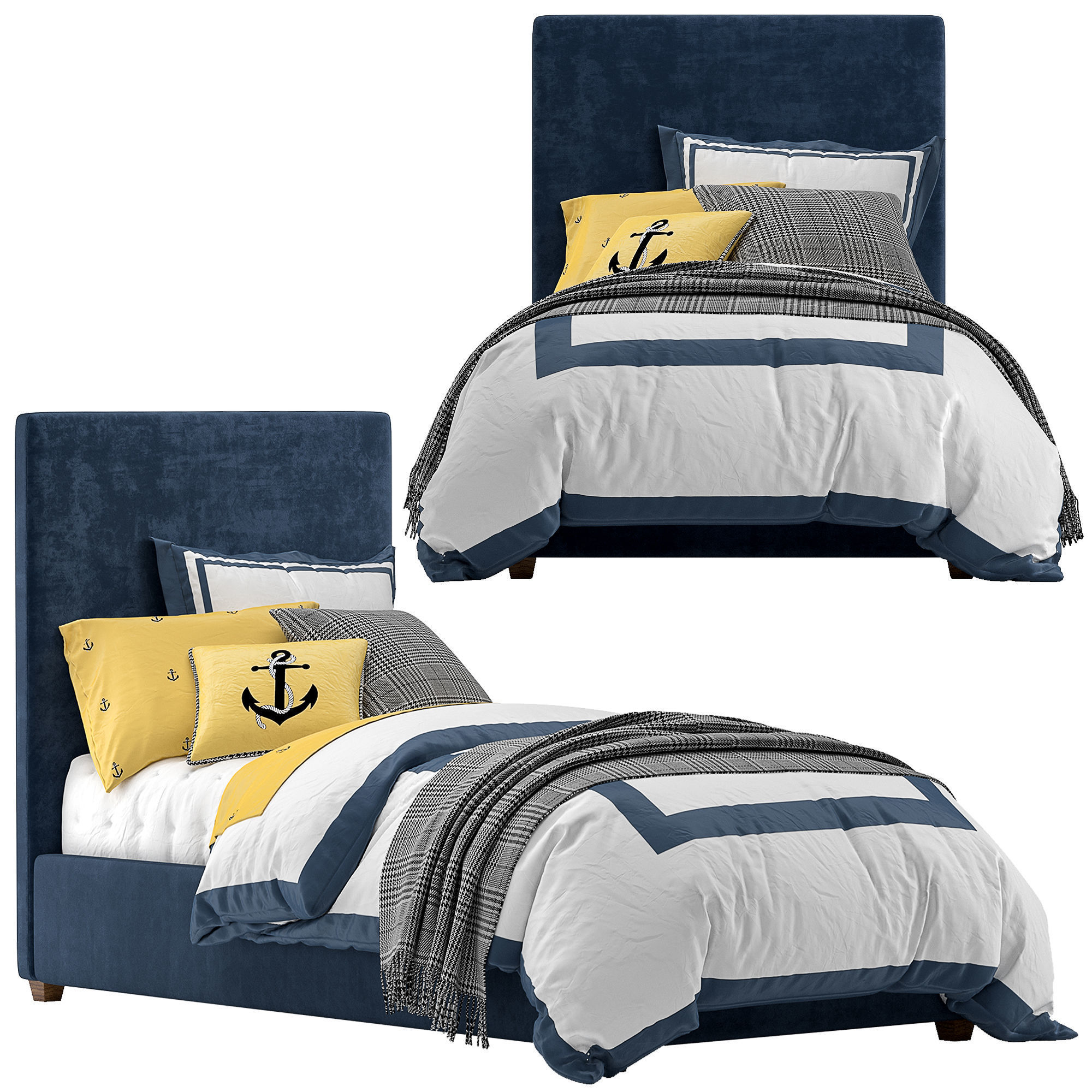Raleigh Upholstered Square Bed  - Headboard