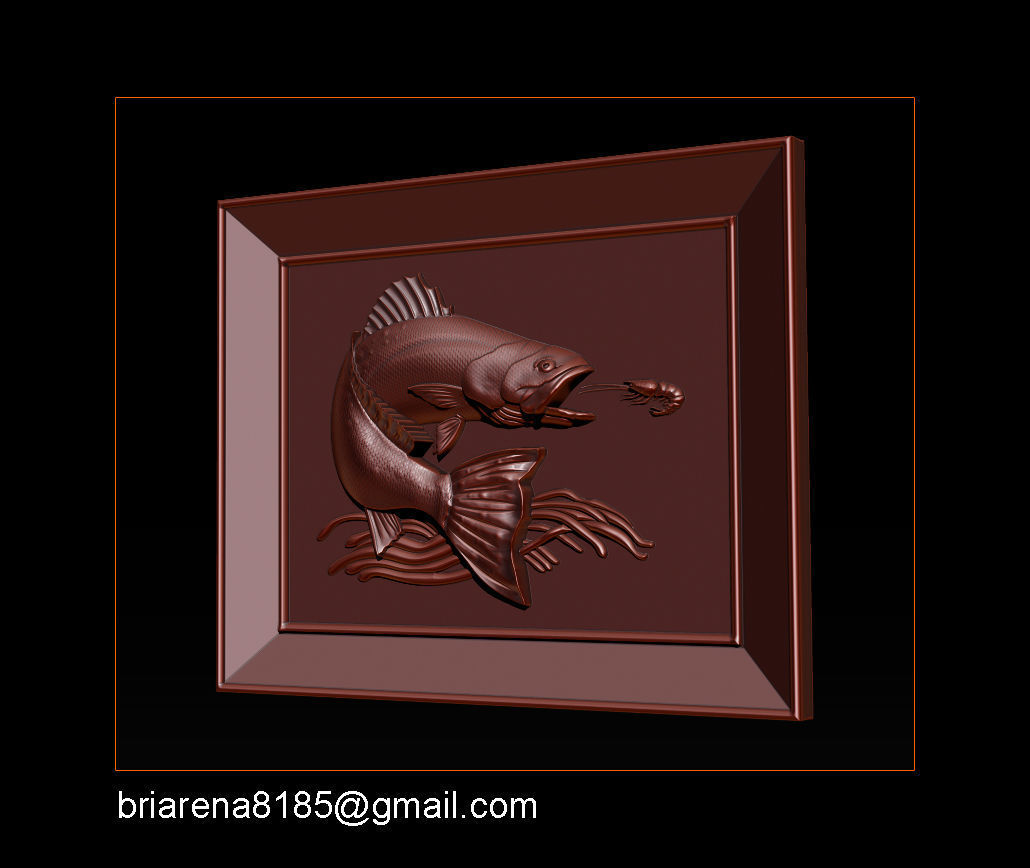 Salmon Bas Relief for cnc carving