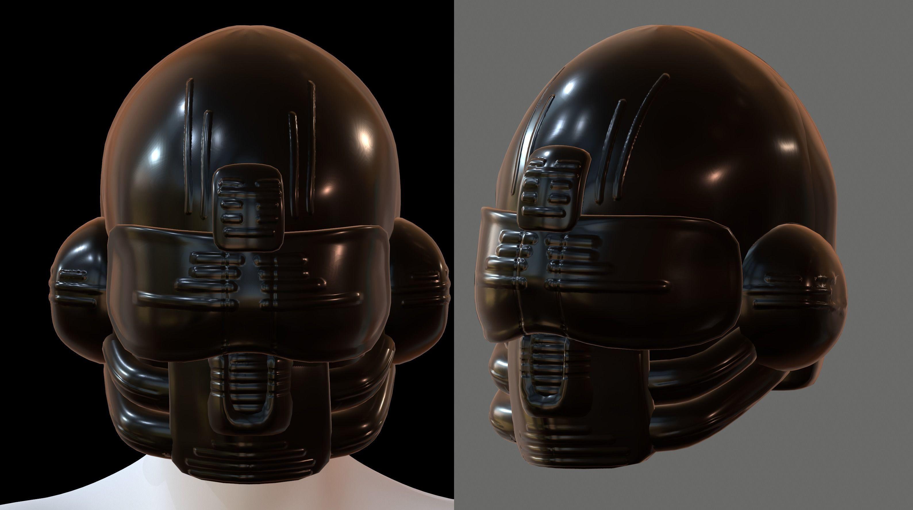 Gas mask PILOT helmet 3d model scifi Low-poly