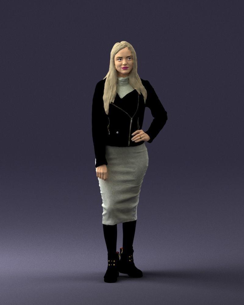 Fashion woman in grey skirt 0364