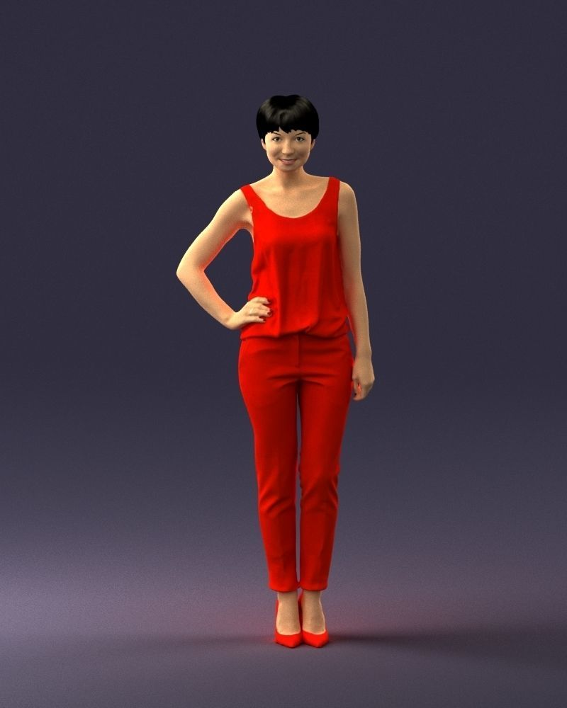 Woman in red suit 0365