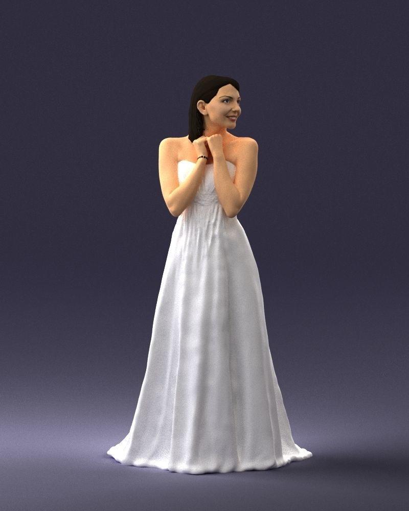 Bride in white dress 0388 3D Print Ready