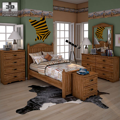 3d Model Ashley Camp Huntington Poster Bedroom Set Vr Ar