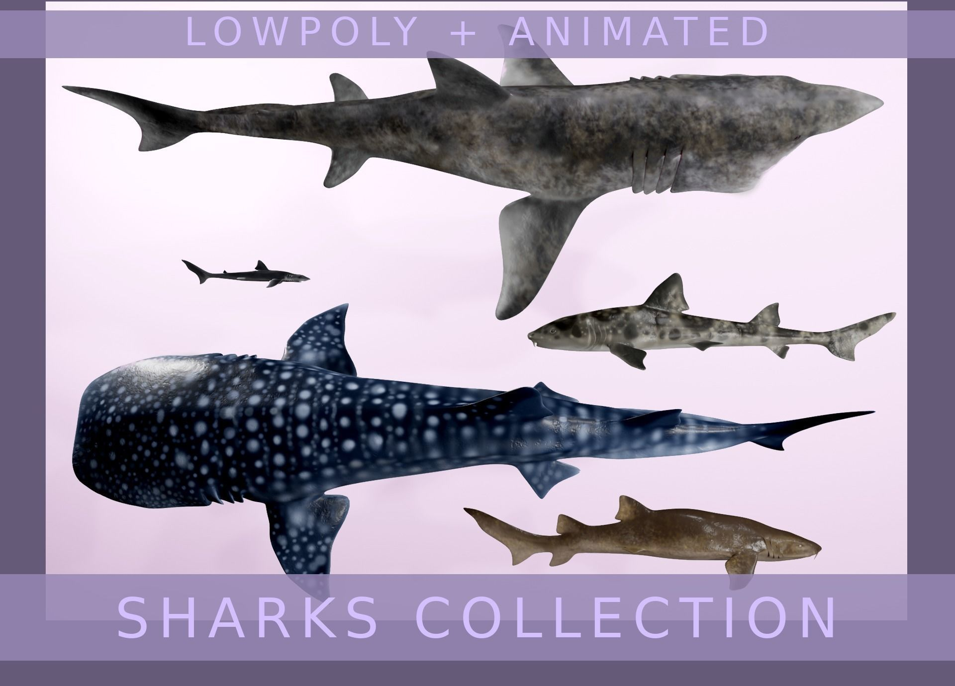 Lowpoly Sharks Collection