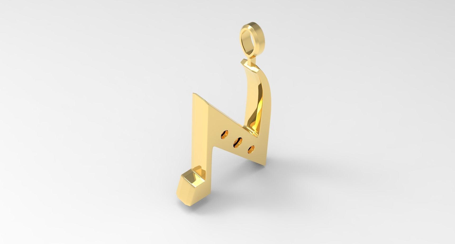 N Letter Pendant Gold