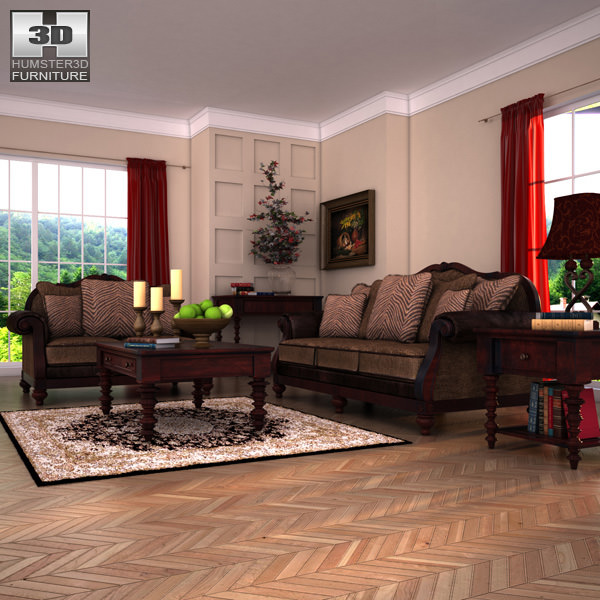 Ashley Livingroom Key Town 3d Model Low Poly Max Obj 3ds Fbx C4d Lwo Lw ...