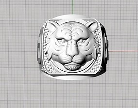 male lion ring 3D print model