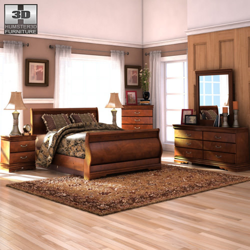 Ashley Furniture Bryant Ar Collection Collection Ashley: 3D Model Ashley Wilmington Sleigh Bedroom Set VR / AR