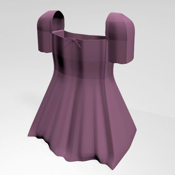 Square-Neck Short-Sleeve Mini A-Line Dress 01