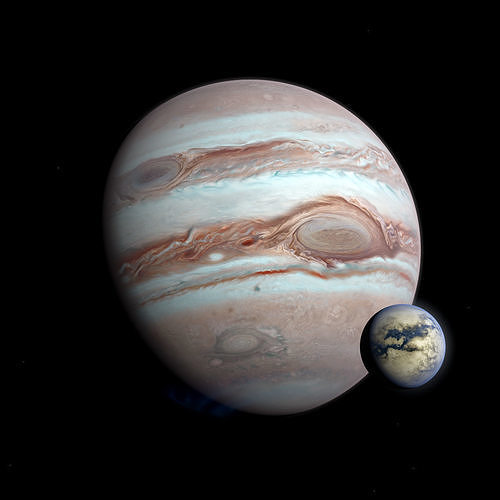 Gas Giant Planet with Moon - Alien Planet 8k