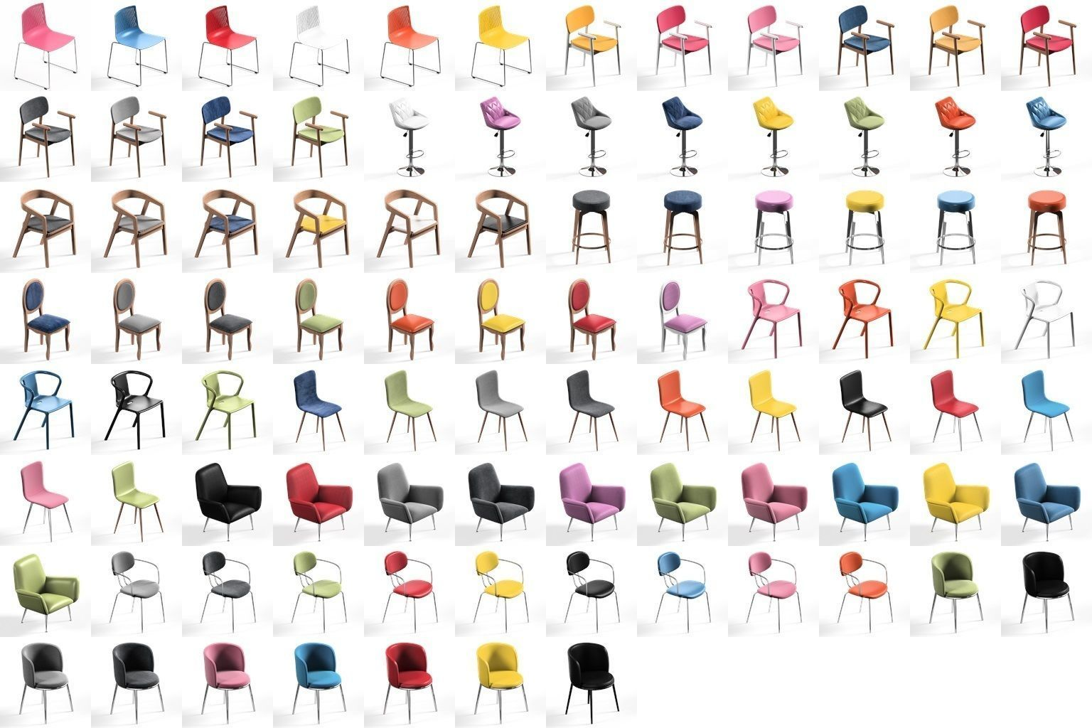 Chair Pack collection 11 main models Plus 79 color variations