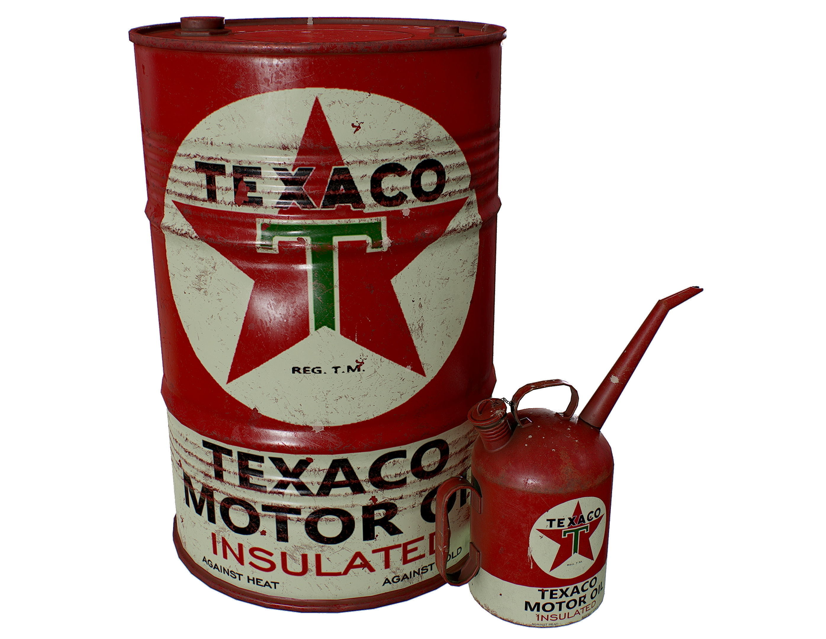 Old TEXACO Motor Oil Barrel and Canister