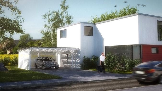 House 2 Modern City Villa 3d Model Low Poly Max Obj 3ds Fbx Dae