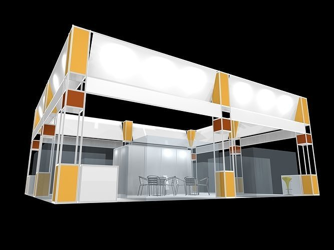exhibition stall design 4 side open Low-poly 3D model