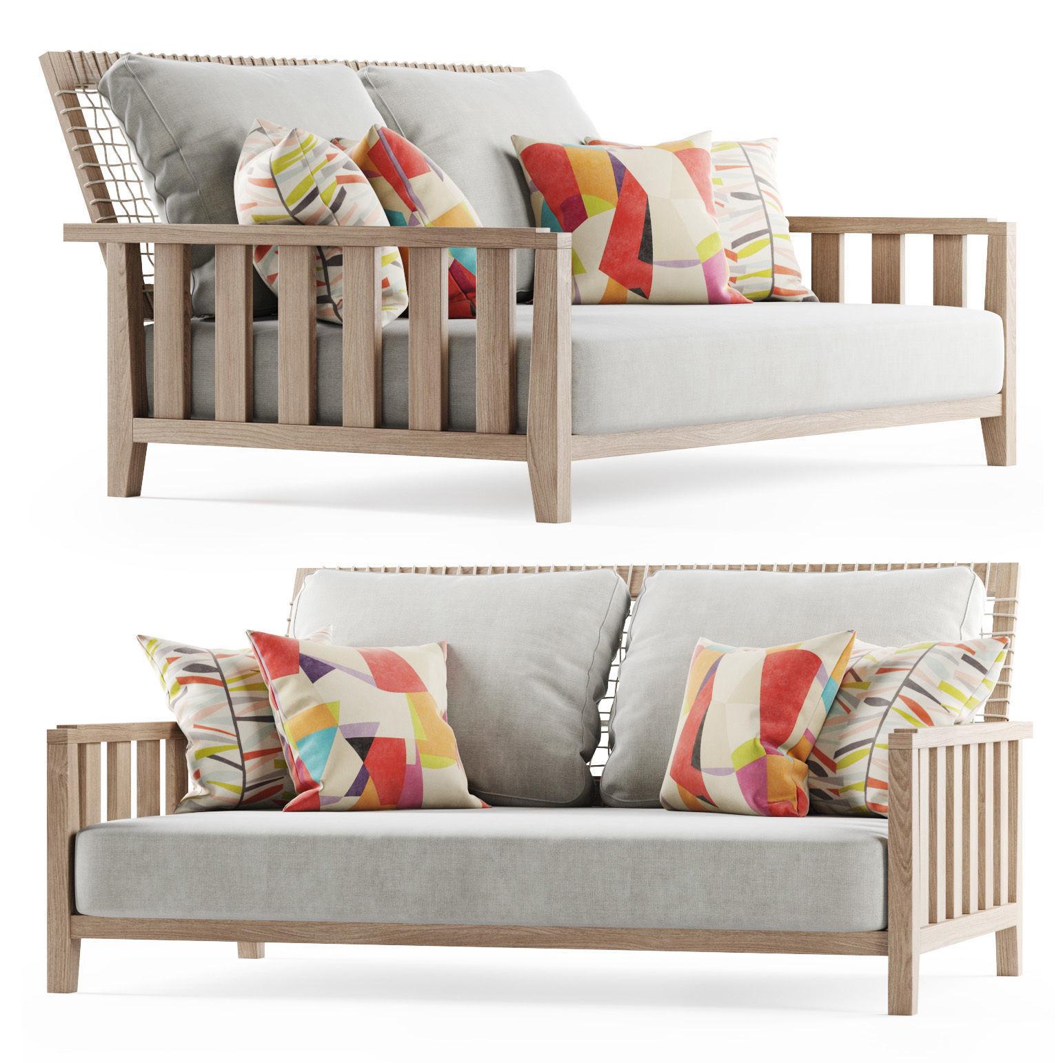 Double wooden garden sofa 3D | CGTrader