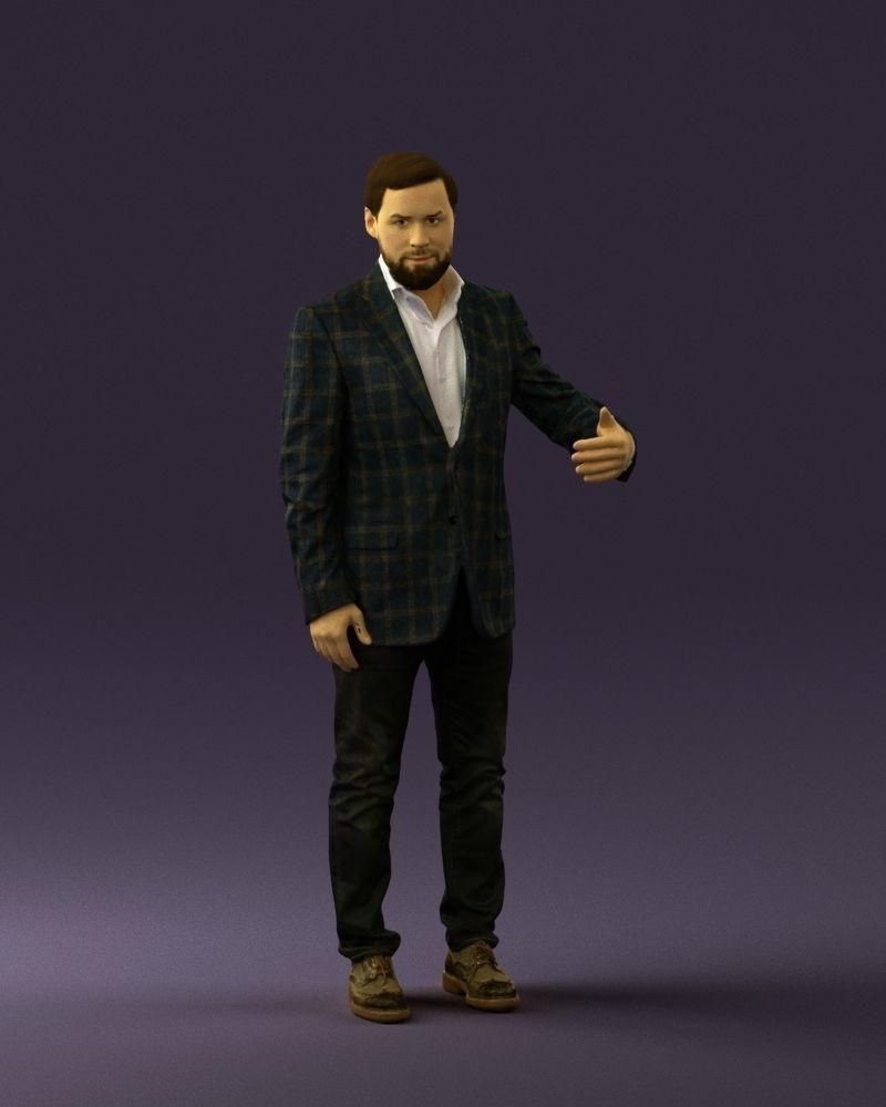 Man in jacket pink shirt 0411 3D Print ready