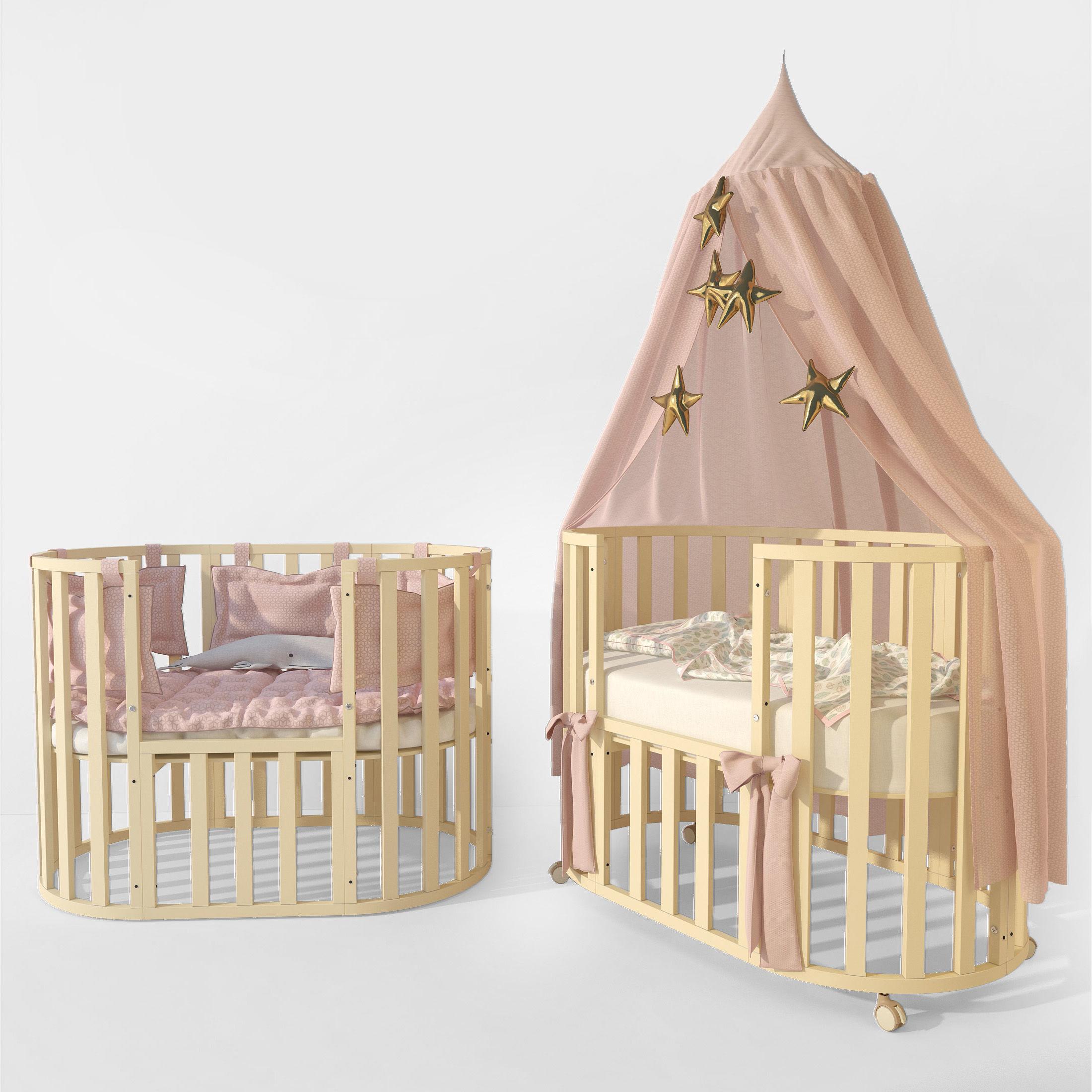 Oval crib Letto Bambini Elegante ivory