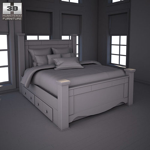 Ashley Shay Poster Bedroom Set 3D Asset CGTrader