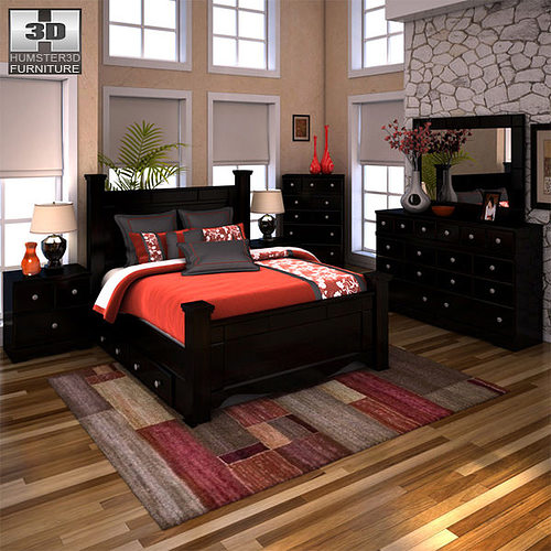 ashley shay bedroom set. ashley shay poster bedroom set vr / ar low-poly 3d model s