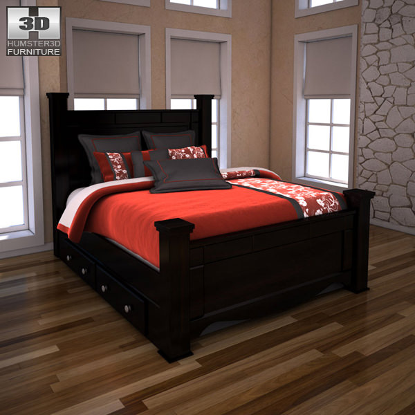 Ashley Shay Queen Poster Bed with Storage | 3D model