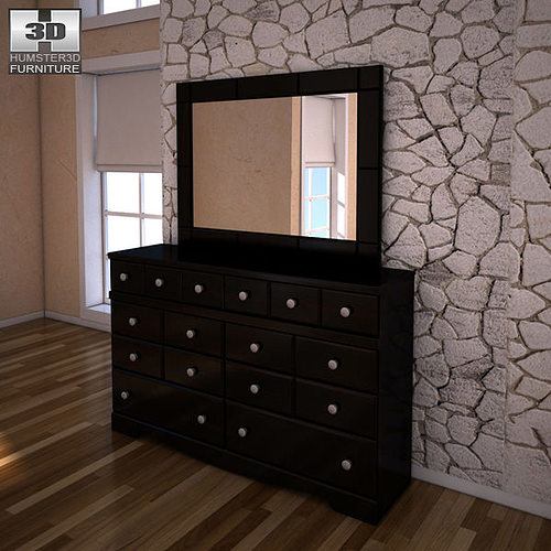 Ashley Shay Dresser Mirror Model Low Poly Max Obj Mtl S Fbx 1