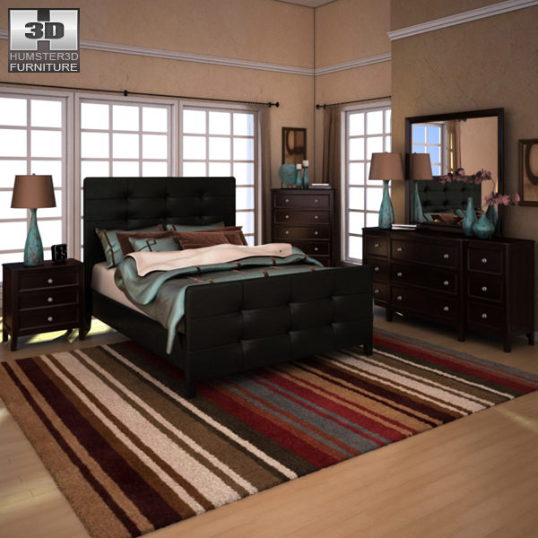 Ashley Carlyle Upholstered Bedroom Set Model Max Obj S Fbx Mtl 1