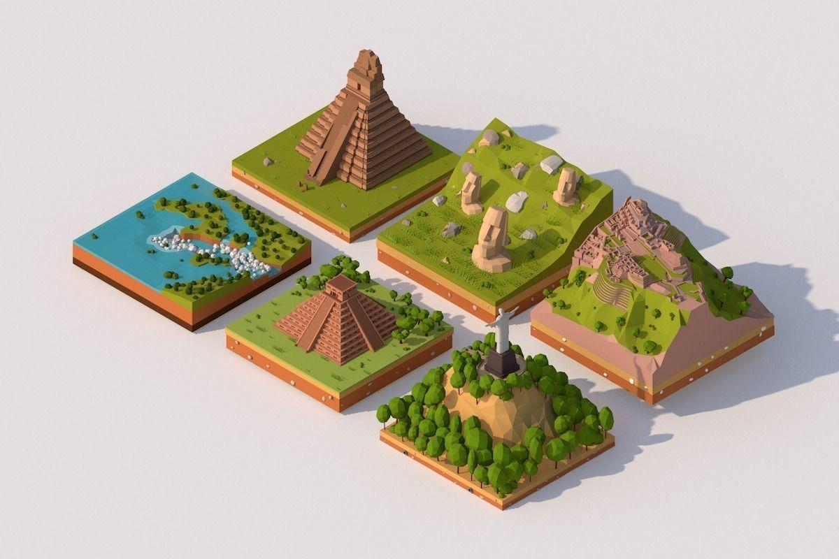 Cartoon Low Poly South America Landmarks Pack