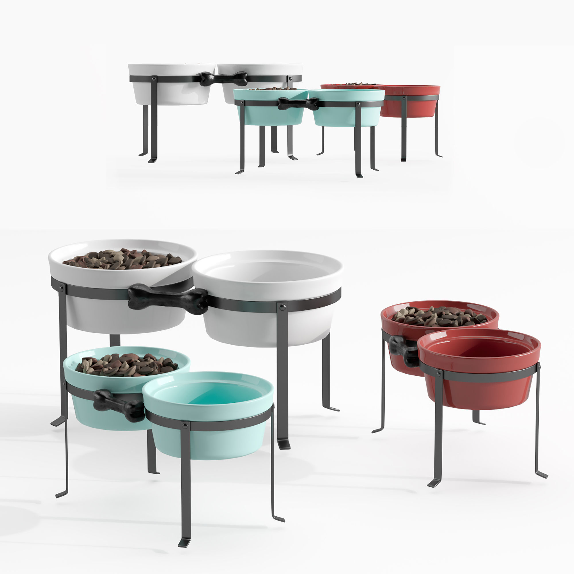 Dog feeding bowls and stand