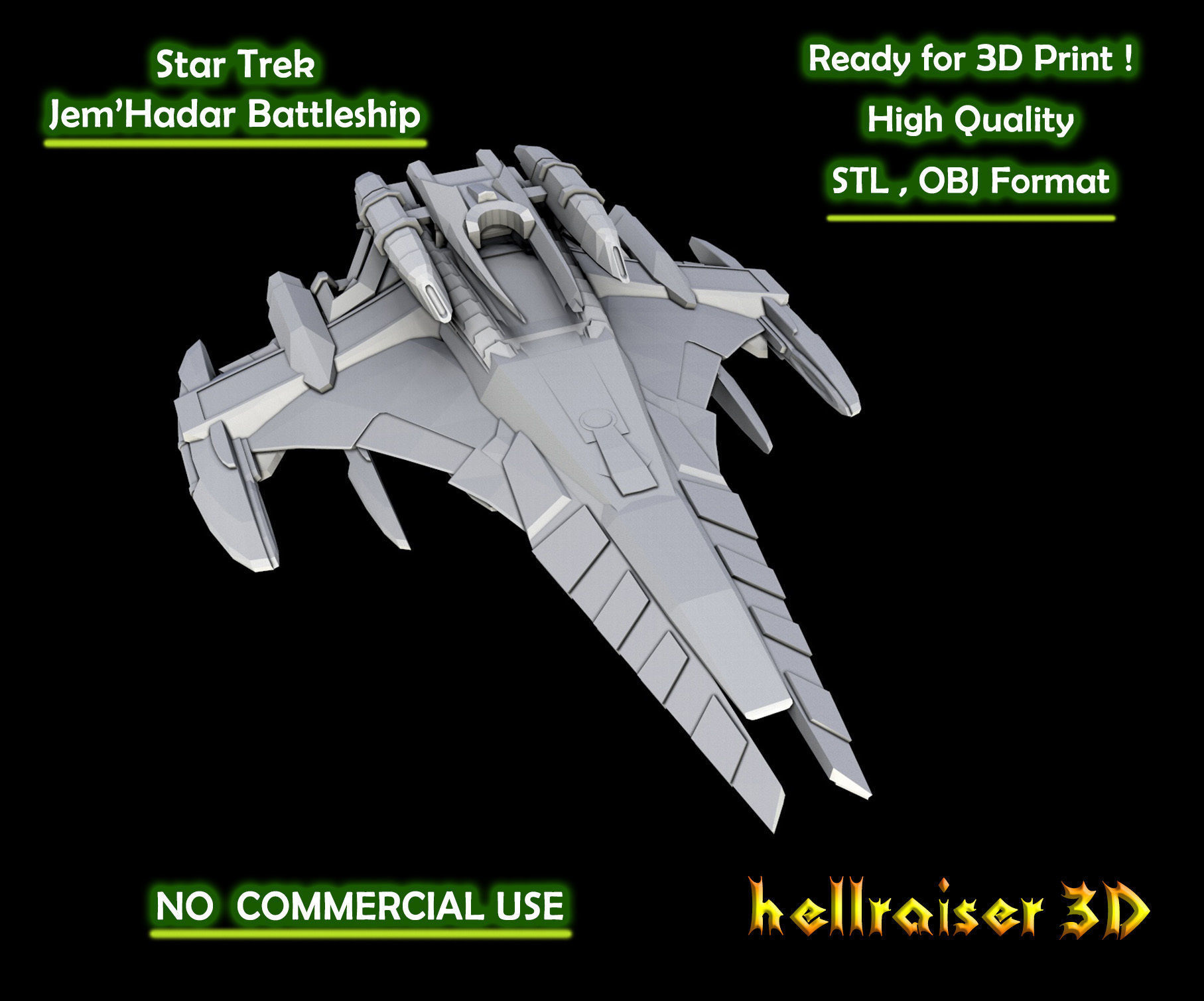 Star Trek - JemHadar Battleship - 3D Printable Model