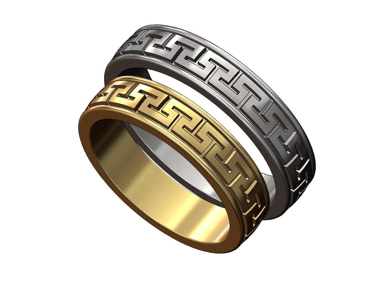 Meandre Greek key pattern ring