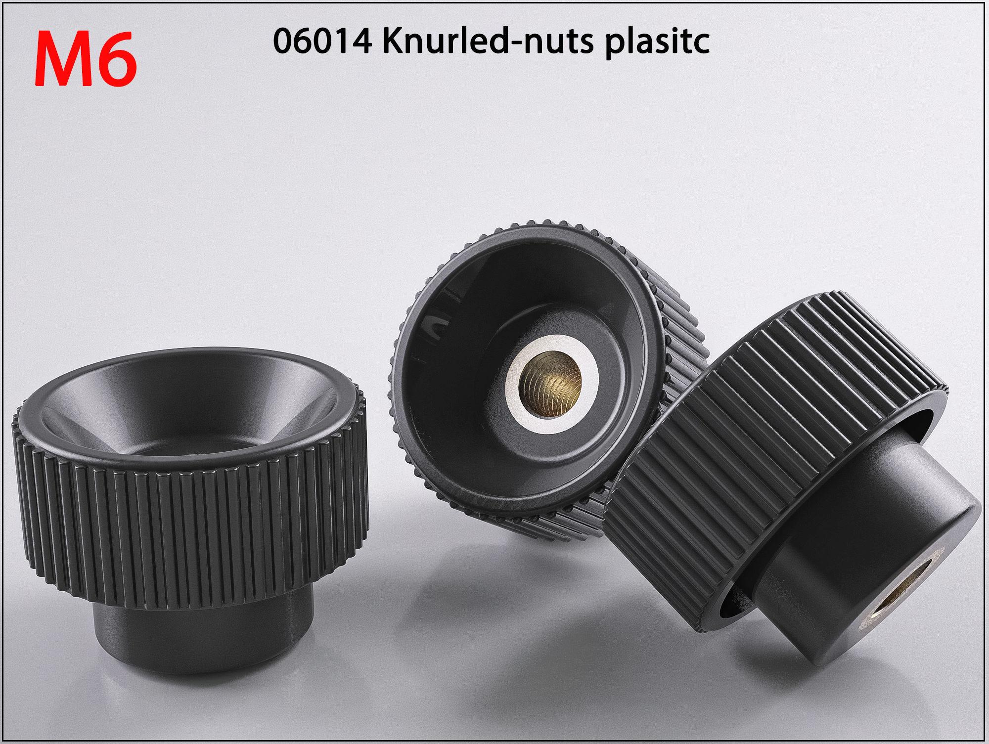 3D nuts M6 06014-11250624 Raendelschrauben Knurled print model