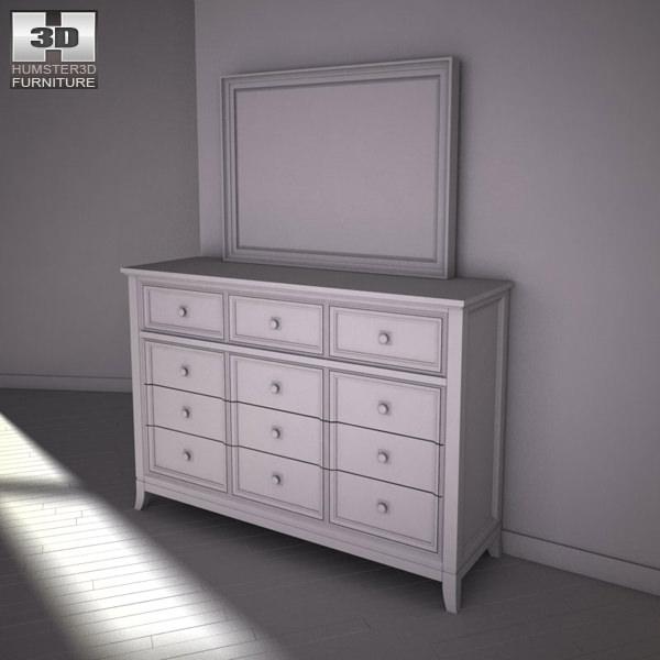 3D Model Ashley Martini Suite Storage Bedroom Set VR AR Low Poly MAX OBJ