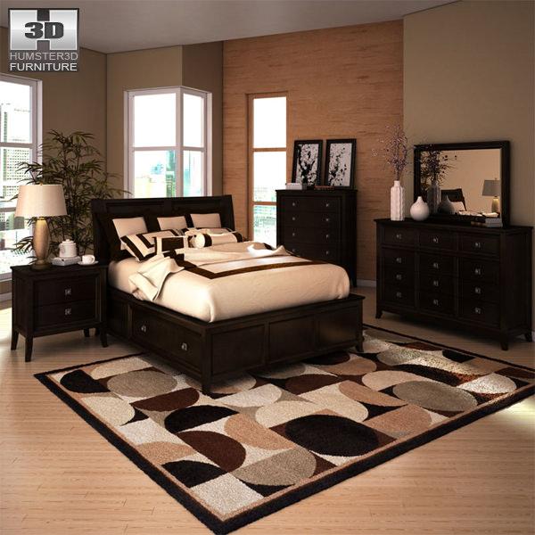 Ashley Martini Suite Storage Bedroom Set 3d Model Max Obj 3ds Fbx Mtl 1 ...
